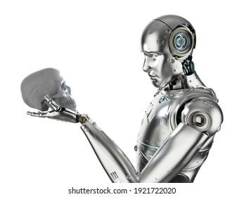 3d rendering robot starring at human skull