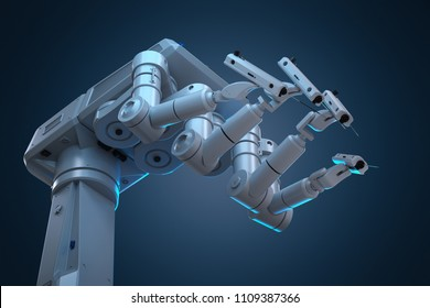 3d rendering robot surgery machine with four arms
