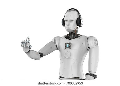 3d rendering robot wearing headset and hand pointing