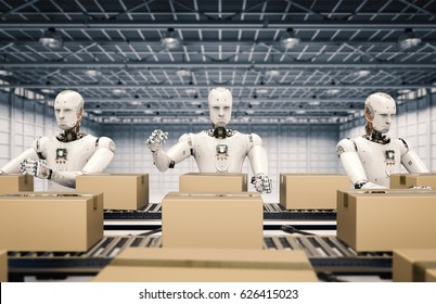 3d rendering robot working with carton boxes on conveyor belt