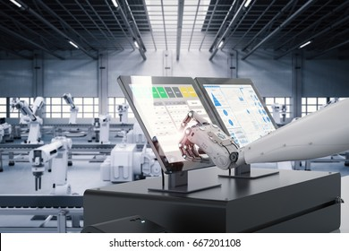 3d rendering robot working on monitor screen in factory