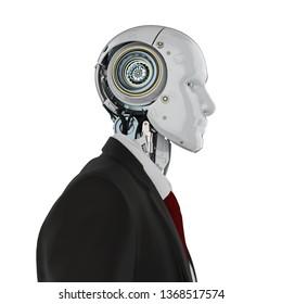 3d rendering robotic businessman wear suit isolated