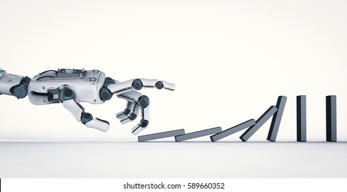 3d rendering robotic hand collapse dominoes