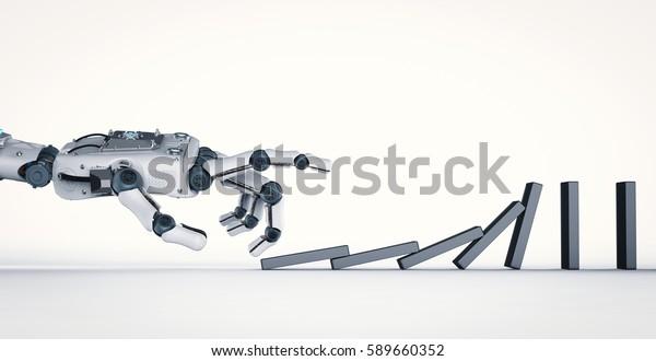 3d rendering robotic hand collapse dominoes