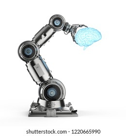 3d rendering robotic hand holding shiny brain