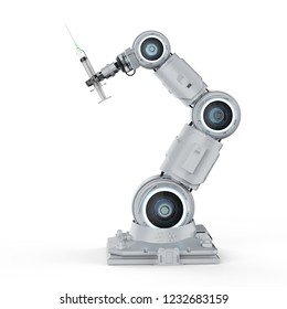 3d rendering robotic hand holding syringe on white background