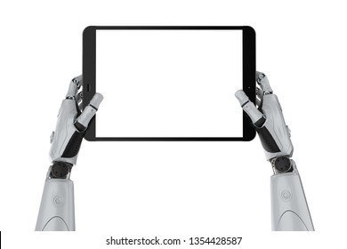 3d rendering robotic hand holding blank screen tablet isolated