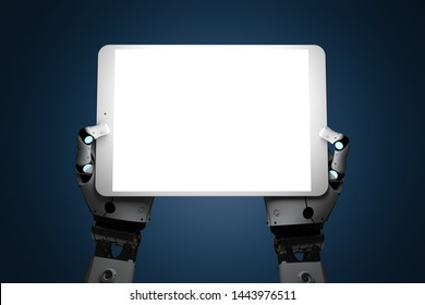 3d rendering robotic hand holding shiny blank screen tablet