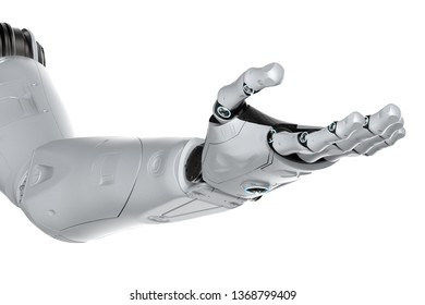 3d rendering robotic hand isolated on white