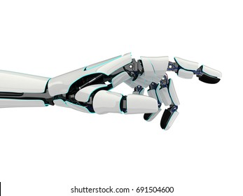 3D rendering robotic hand isolated on white background