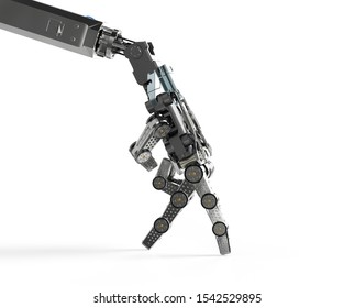 3d rendering robotic hand walk or finger walk on white background