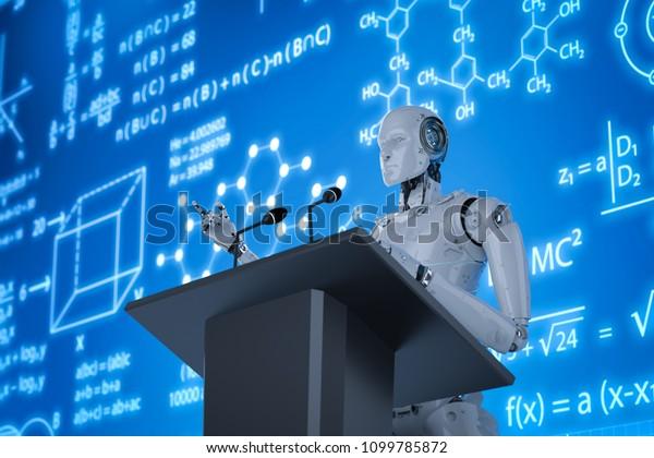 Profesora robótica de renderizado 3d enseñando en podio con monitor de pantalla