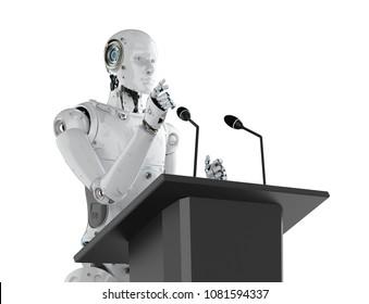 3d rendering robotic public speaker speaking on podium
