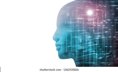 3D Rendering of robot's head with abstract technology  binary data and software workflow on contrast white background. Concept for Artificial intelligence, big data analysis, deep machine learning.