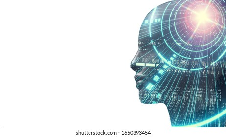 3D Rendering of robot's head with abstract technology  binary data and software workflow background. Concept for Artificial intelligence, big data analysis, deep machine learning.