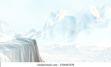 3D Rendering of rock cliff facing toward huge snowy mountain range during sun rise. Concept for plod, business goal, career achievement, hope, solution, exit, success