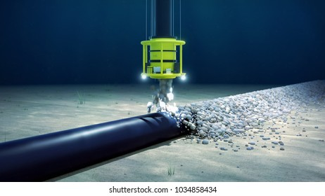 3d rendering of the rock dumping of a subsea pipeline or cable