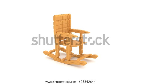 Miraculous 3D Rendering Rocking Chair Made Clothespin Stock Squirreltailoven Fun Painted Chair Ideas Images Squirreltailovenorg