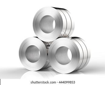 3d rendering roll of steel sheet