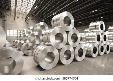 3d rendering roll of steel sheet in factory