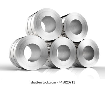 3d rendering rolls of steel sheet