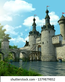 3D rendering of a romantic fairytale castle in an idyllic landscape framed by trees and protected by a moat filled with water