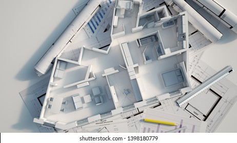 3D rendering of a roofless apartment on top of blueprints, mortgage application form  and other documents, calculator, etc..