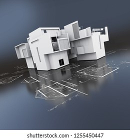 3D rendering of a roofless building on top of blueprints