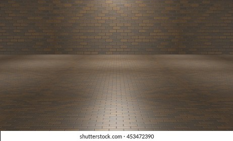 3D rendering room with brown and grey bricks