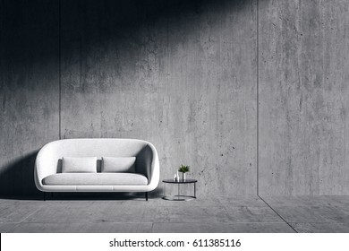 3d rendering : room Minimalist interior light and shadow with white fabric chair and white book shelf at front of cement concrete floor and wall. minimalism style loft cement wall in background