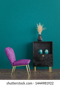 3D rendering of a room with a purple chair and a little sideboard with cups and a plant