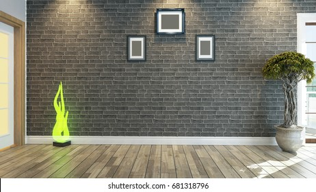3D rendering room, salon or living room with brick wall plant by Sedat SEVEN