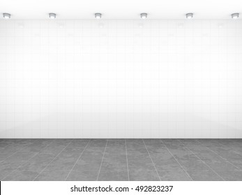 3d rendering of a room with white tiles background