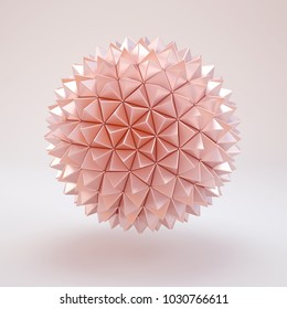 3d rendering rose gold lowpoly polygon sphere. pink beautiful ball isolated on white background.