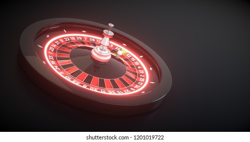 3D rendering of Roulette Wheel With Futuristic Neon Lights, Isolated on Black Background