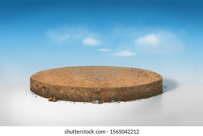 3D rendering round cutaway terrain floor with rock isolated, realistic 3D Illustration circle soil ground cross section with earth land on blue sky