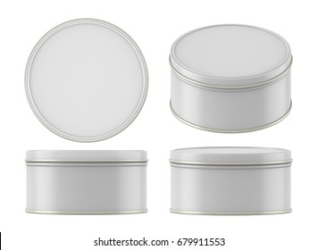 3D rendering Round metal tin can, Mock up canned food for cookie, gift, snack, Isolated on white background