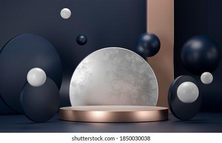 3D rendering round podium geometry with gold elements. Abstract geometric shape blank dark blue podium. Scene for product presentation. Empty showcase, pedestal platform display.