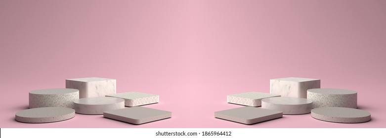 3D rendering of Round and Square marble Pedestal, Podium for display product on the pink floor. Pedestal can be used for advertising, Isolated on pink background, Product Presentation, illustration.