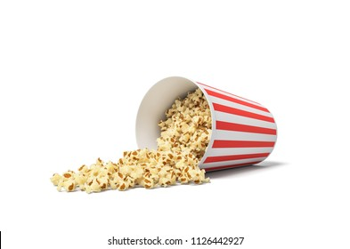 3d rendering of a round striped popcorn bucket lying on its side with popcorn spilling out of it. Movie snack. Popcorn time. Watch and eat.