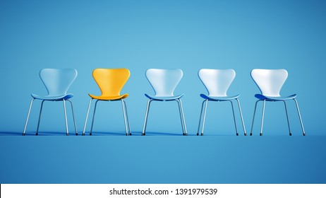 3D rendering of a row of blue chairs and a contrasting yellow one