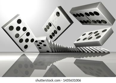 3D rendering of a row of falling dominoes