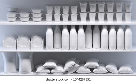 3d rendering of row of glass milk bottles and other dairy products on shelves in abstract supermarket. All painted white and  with blank labels. Total one color. Front view