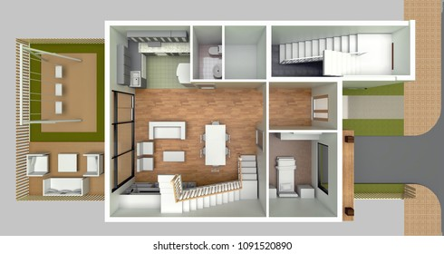 3d rendering of a row house plan