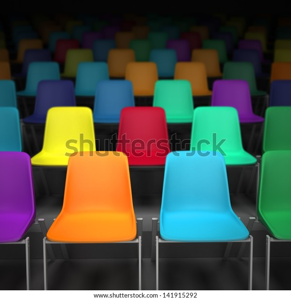 3D rendering of rows of colorful chairs