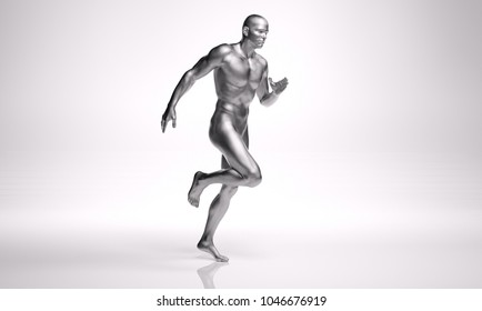 3D Rendering :  a running male body illustration