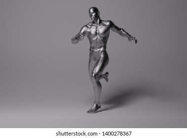 3D Rendering :  a running male body illustration