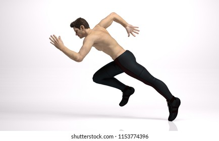 3D Rendering :  a running male character illustration with white background