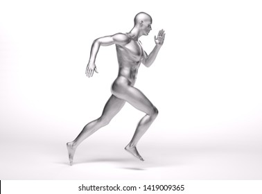 3D Rendering :  a running male character illustration with white background as a sculpture