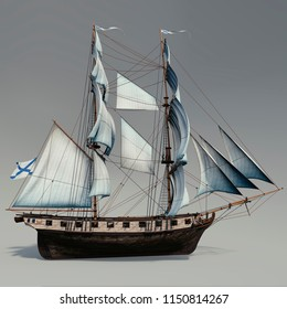 "3D rendering of russian brig of the 19th century ""Phoenix"""